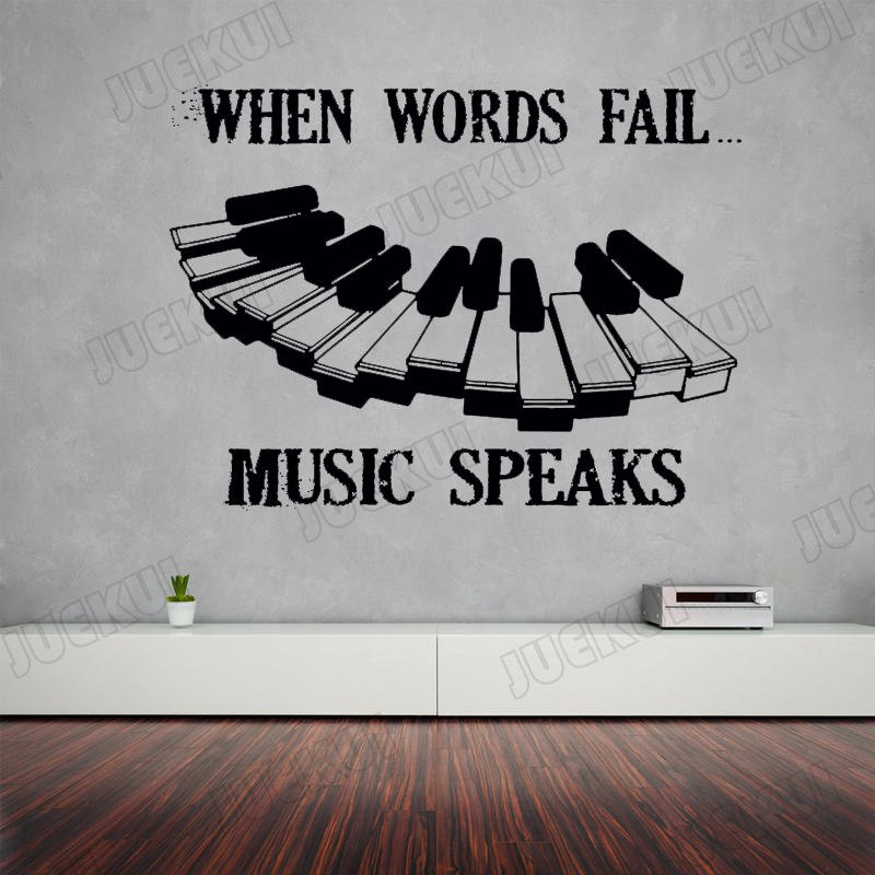 US $6.98 25% OFF|Music Speaks Piano Keyboard Lettering Quotes Removable  Wall Stickers for Music Room Background Home Decor Vinyl Art Murals L820-in  ...