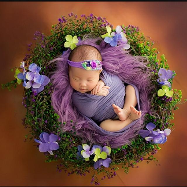 Dziecko pierścieniowy kosz noworodka rekwizyty fotograficzne kwiatowe ozdoby rattanowe pudełko akcesoria do studia fotograficznego