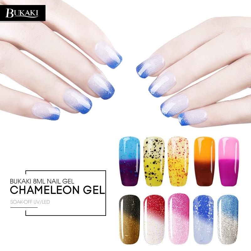 BUKAKI 1pcs Thermo Colors Change Nail Gel Polish Glitter Temperature Changing Varnish Soak Off UV Gel  Nail Art Gel Lak