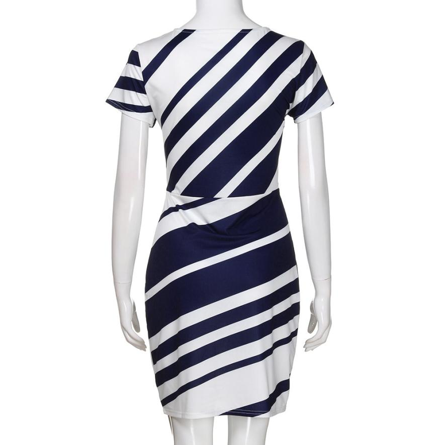 HTB10Vj5tNSYBuNjSsphq6zGvVXam KANCOOLD dress Summer fashion Women's Working Pencil Stripe Party Casual O-Neck Mini high quality dress women 2018MA27