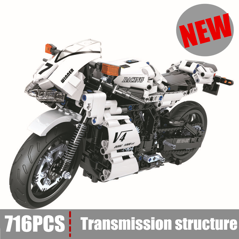 цена на New Motorcycle Building Blocks bricks fit legoings technic city car White Racing DIY Bricks Toys children Great Gifts kid boy