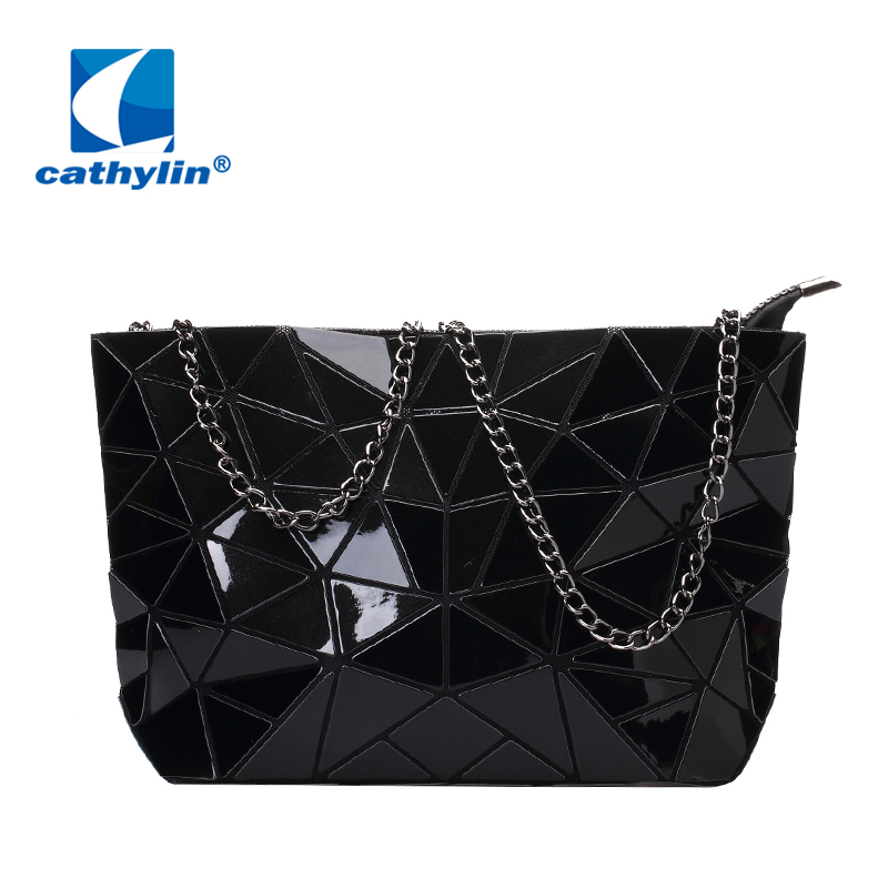 цены 2017 New Fashion Women Shoulder Bag Diamond Lattice Tote Geometry Quilted Handbag Geometric Mosaic handbag With Chain Strap