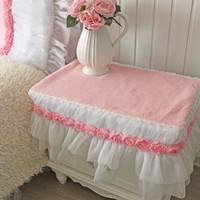 New Plush Bedside Table Cover Size Customized Winter Pink Sweet Princess Ultrafine Velvet Home Textile Bedside