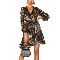 2018 Лето Высокое качество пляжный отдых женское платье с длинными рукавами 100% шелк v образным вырезом черный Boho Стиль Цветочный принт леди ми