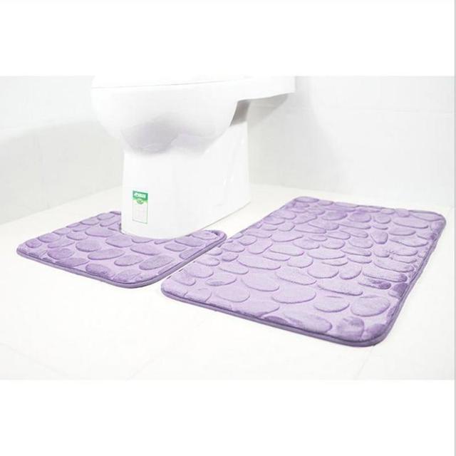 2pcs/set Bath Mats Bathroom Carpet 3D Print Pebbles Toilet Carpet Flannel Anti-slip Absorbent Floor Mat Home Decor