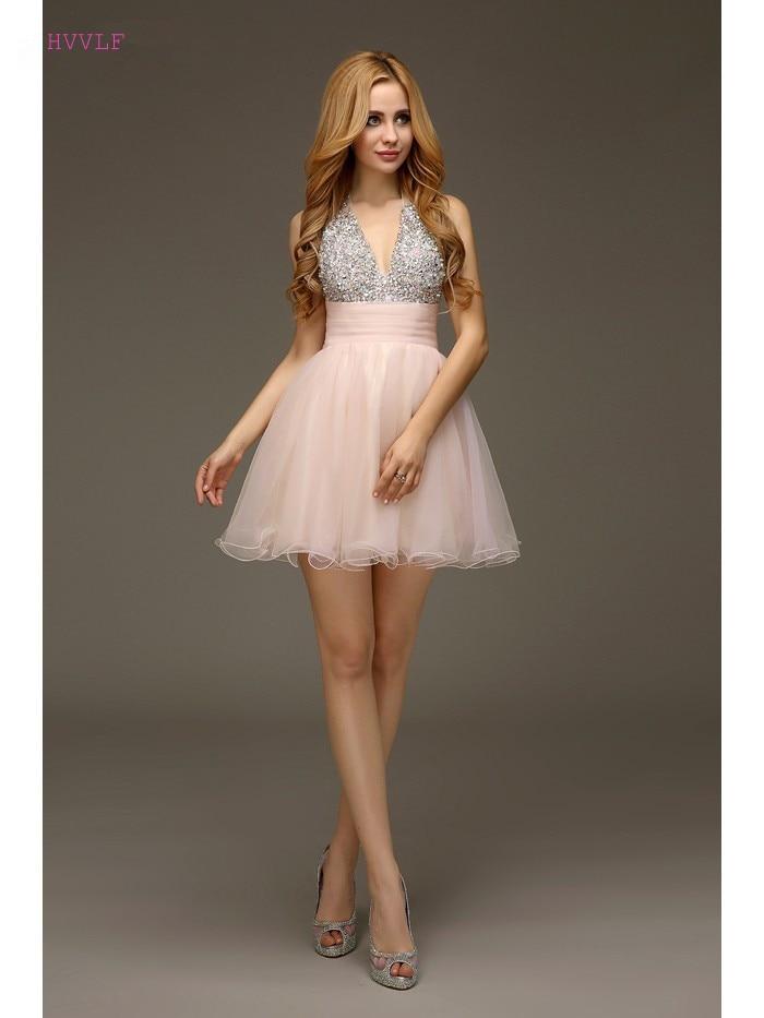 Pink Homecoming   Dresses   A-line Halter Short Mini Organza Beaded Crystals Backless Elegant   Cocktail     Dresses