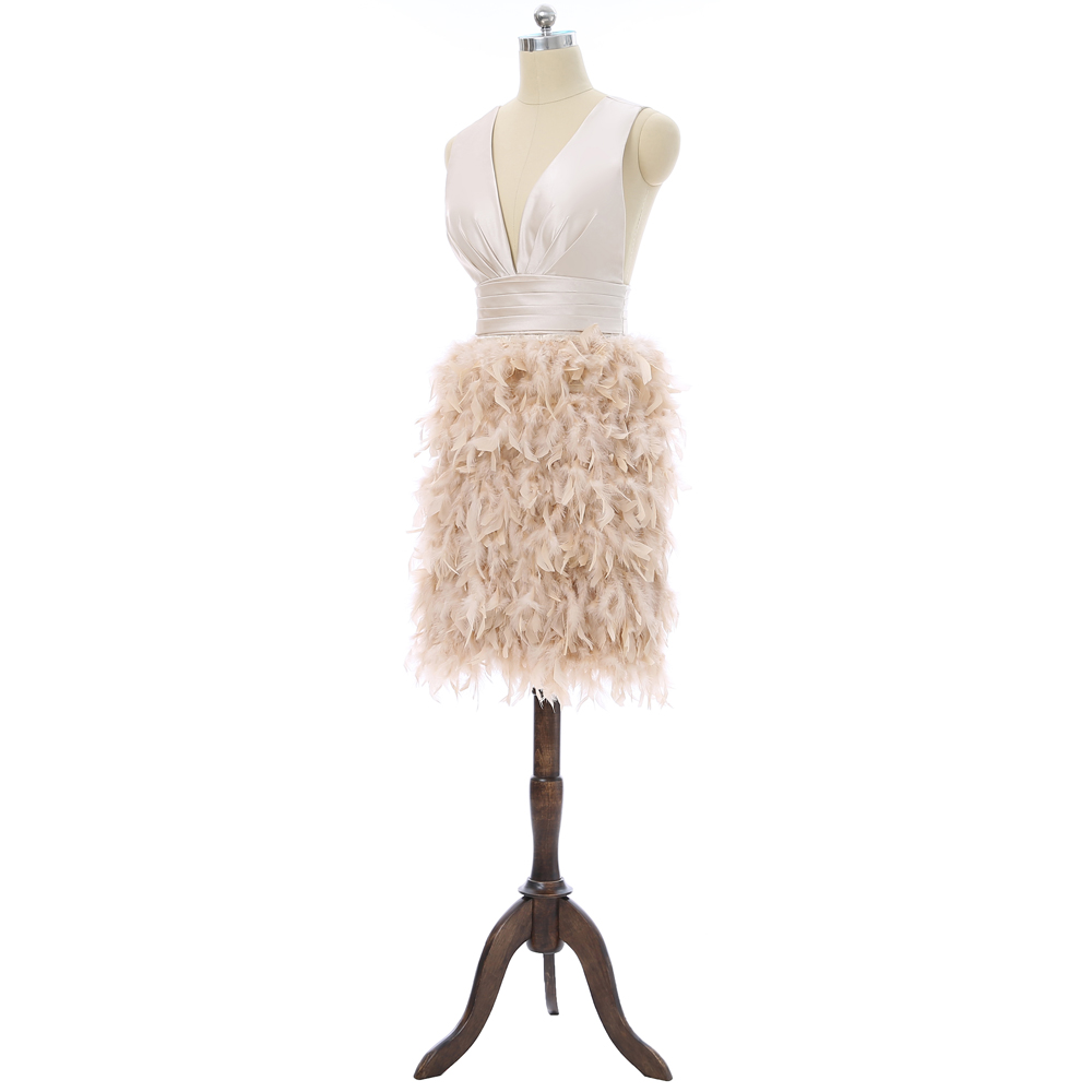 Open Back Sheath Deep V-neck Short Mini Feather Cocktail Dress