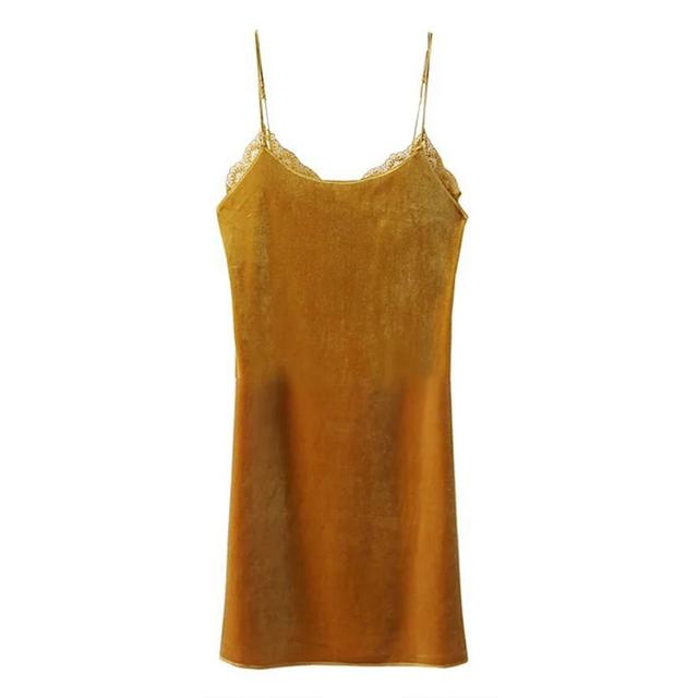 Sexy alças de ombro-vestido de deslizamento noite saia das senhoras saias lingerie bralette colheita rendas top sem mangas de veludo underwear veste das mulheres