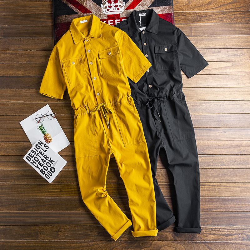 Super Personality Yellow/Black Mens Jumpsuit Fashion Casual Men's Rompers Trend Tooling Wind Mens Pencil Pants
