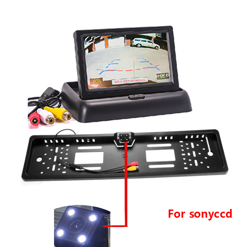 4 3 TFT LCD Car Monitor European License Plate Frame Rear Camera Easy install Rearview Parking