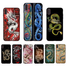 IMIDO Oriental dragon pattern design Soft black silicone phone case for iphone X Xs Xr Xsmax 7 8 6 5 6s/6/7/8plus 5/6S TPU shell