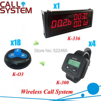 Wireless Electronics Restaurant Equipment with 18pcs table buttons, 4 wrist watches and 1 screen, shipping free