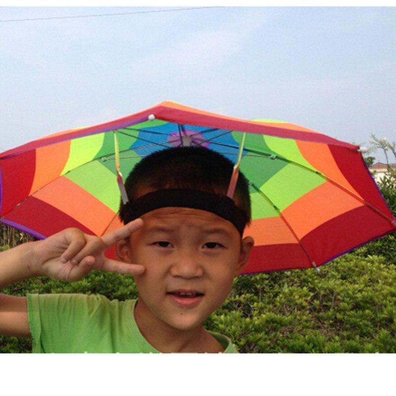 63eb1c75f0733 Random Color Portable 31cm Useful Rainbow Umbrella Hat Awning Camping  Fishing Hiking Outdoor Shade Rain Hat ZQ874784