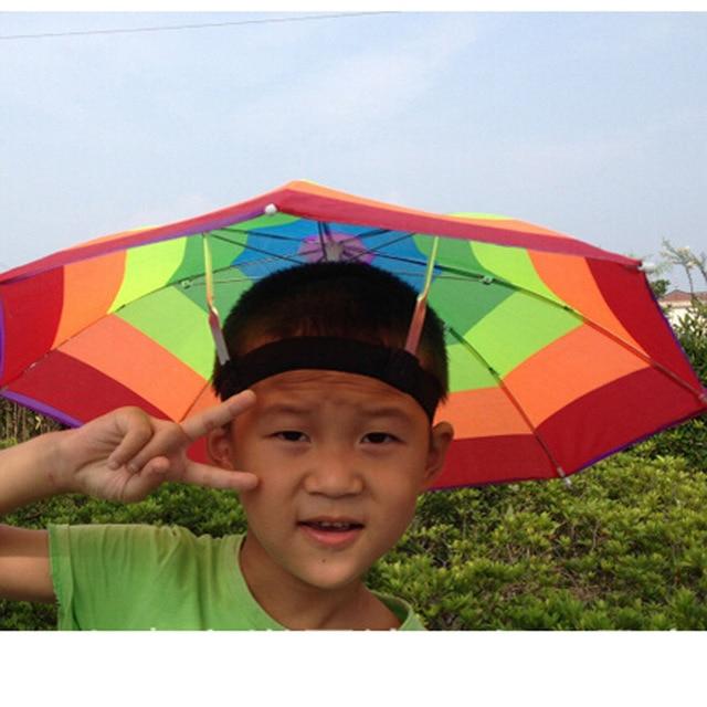 Random Color Portable 31cm Useful Rainbow Umbrella Hat Awning Camping  Fishing Hiking Outdoor Shade Rain Hat ZQ874784 ef37eec1ae39