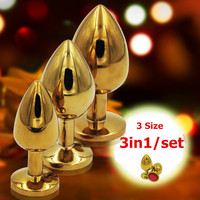 3in1/set,Diameter 27mm/33mm/41mm,anal balls adult anal sex toys for woman and men,Stainless steel butt plug +Crystal Jewelry,ass