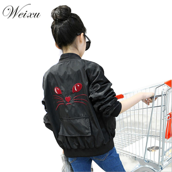 2018 Spring Autumn Bomber Jacket for Girls Fashion cat embroidery Kids Outerwear Windbreaker Coats Baby Children School Clothing