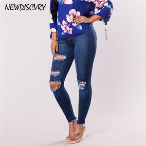 NEWDISCVRY Boyfriend Jeans Pencil-Trousers Hole Ripped Distressed Womens Fashion Slim