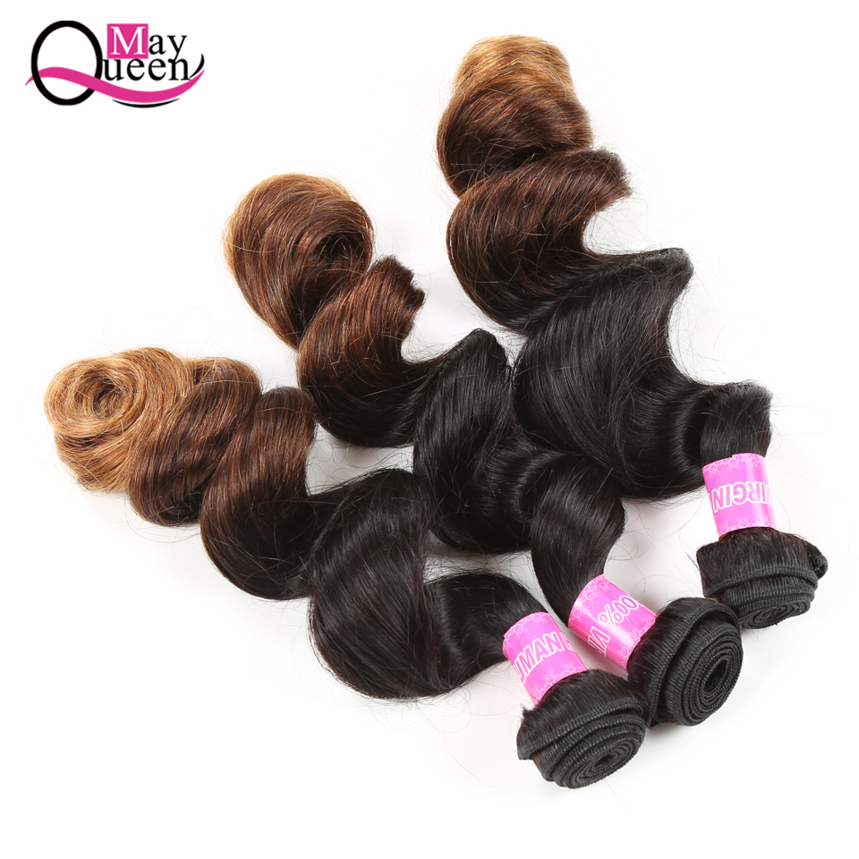May Queen Hair 12-26Brazilian Loose Wave Hair Bundles OmbreT1B/4/30 100%Human Hair Weave There Tone Color Remy Hair Extensions