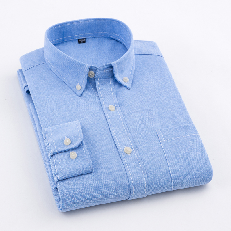 MACROSEA Men's Oxford Solid Color Casual Shirt High Quality Non-iron Anti Wrinkle Men's DP Finishing Shirts Comfortable Clothes