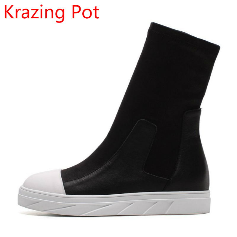 2018 Large Size Genuine Leather Mixed Colors Slip on Flat with Winter Boots Runway Round Toe Casual Stretch Mid-Calf Boots L69 slip on winter boots stretch lycra