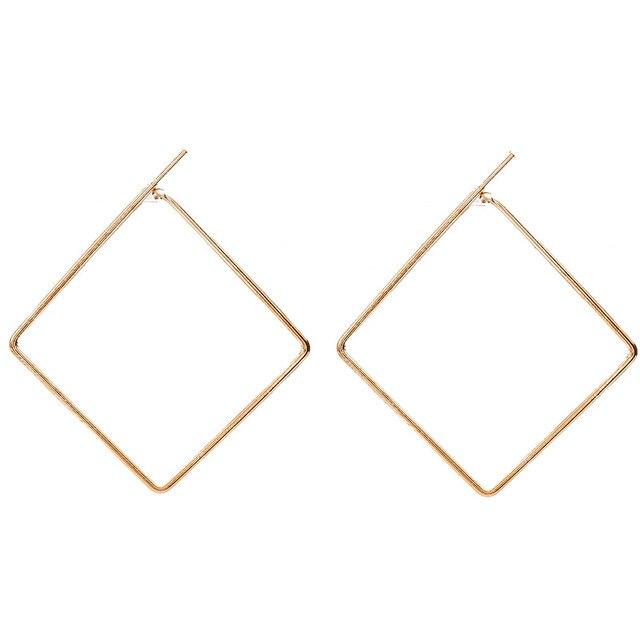 0729bfbe1281 Pendientes de aro cuadrados para mujer oro plata negro lazo pendiente moda  Simple oreja joyería accesorios