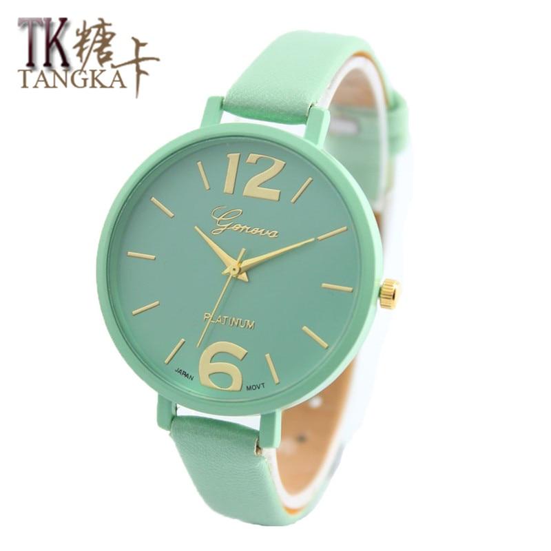 New Fashion Brand Watches Women Luxury Watch Geneva Women Faux Leather Analog Quartz Wrist Watch Relojes Mujer Gift