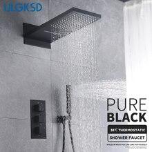 ULGKSD Juego de grifos de ducha termostáticos, mezclador termostático de cascada de lluvia con cabezal de ducha de 3 vías, grifo de ducha de baño, color negro
