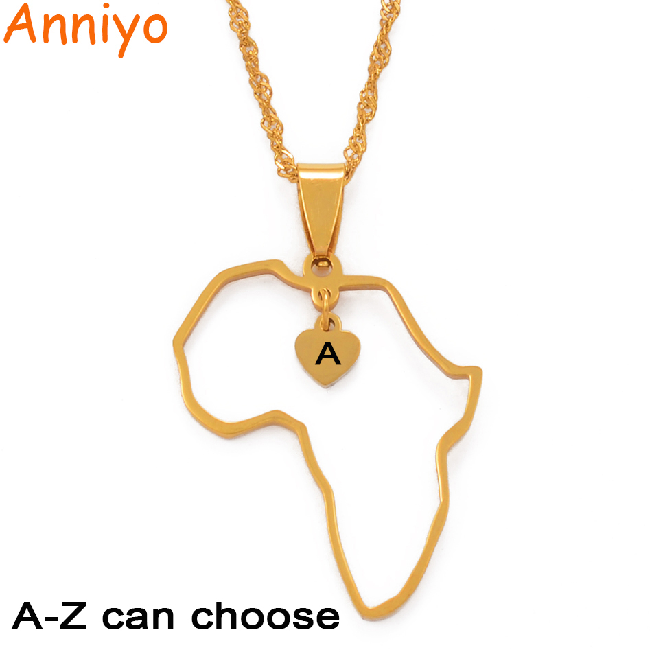 Anniyo A-Z Letter & Africa Map Heart Pendant Necklaces Alphabet Initial Necklace Gold Color African Jewelry Gift #212506(China)