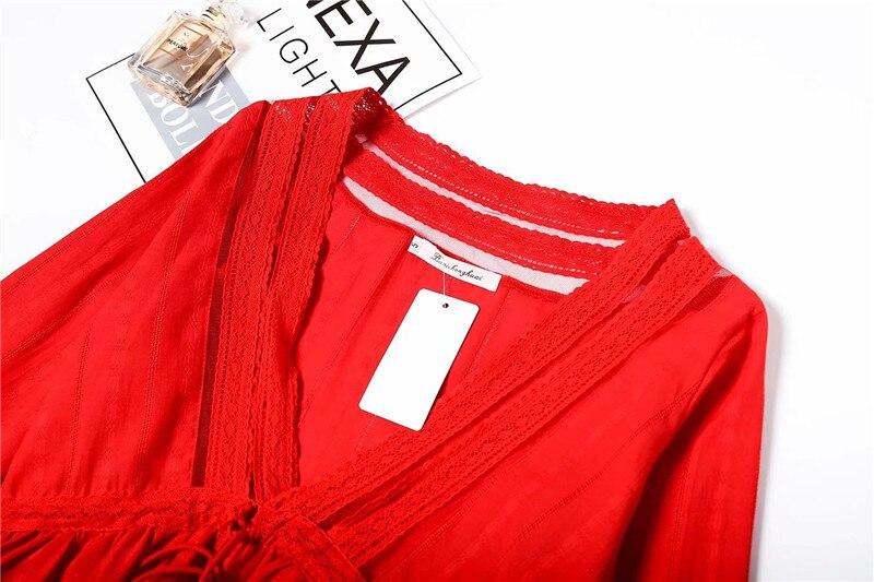 Chemise Nouveau Coton National Longues blanc Manches Creux Dentelle Et 2018 Tête V Couleur Rouge Femmes Vent À Solide Gland cou Été Lin w0xCqa