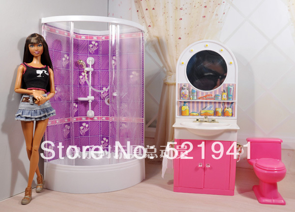 Free Delivery,New arrival Christmas/Birthday Reward Youngsters Play Set Cute BathRoom Doll Equipment Furnishings For Barbie Doll
