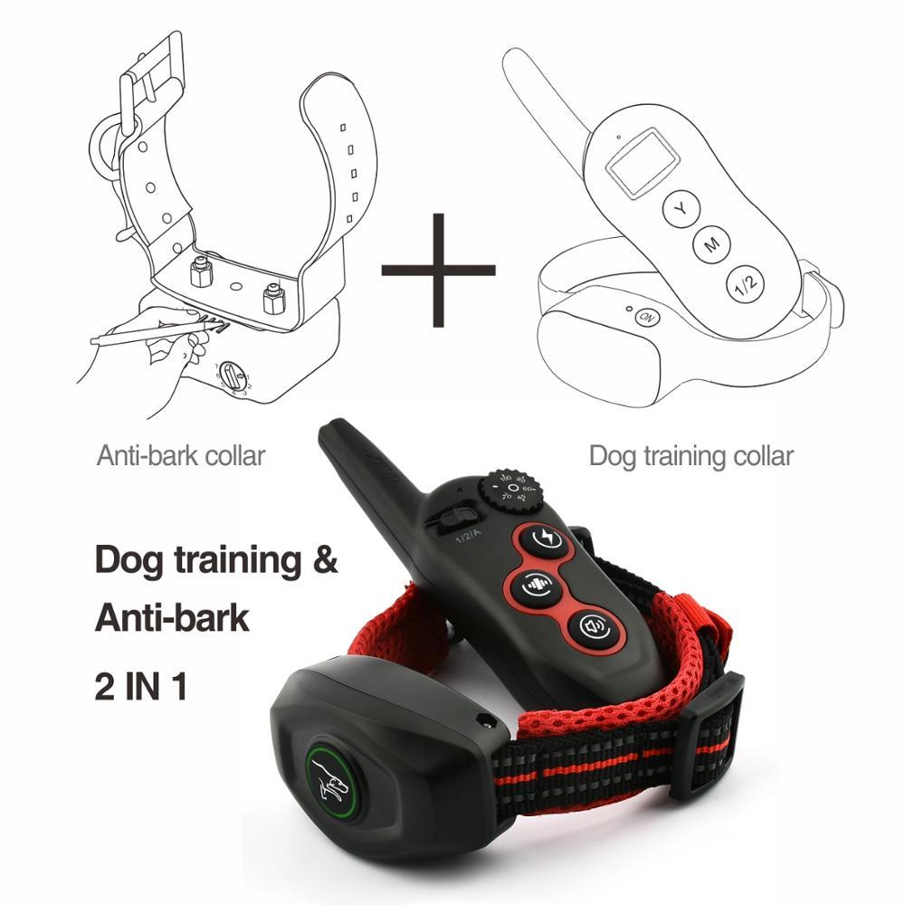 DoBe 400 m 2 EM 1 Elétrica Remoto Colar de Choque Do Treinamento Do Cão Recarregável À Prova D' Água Pode Usar Independente como Anti Latido colarinho