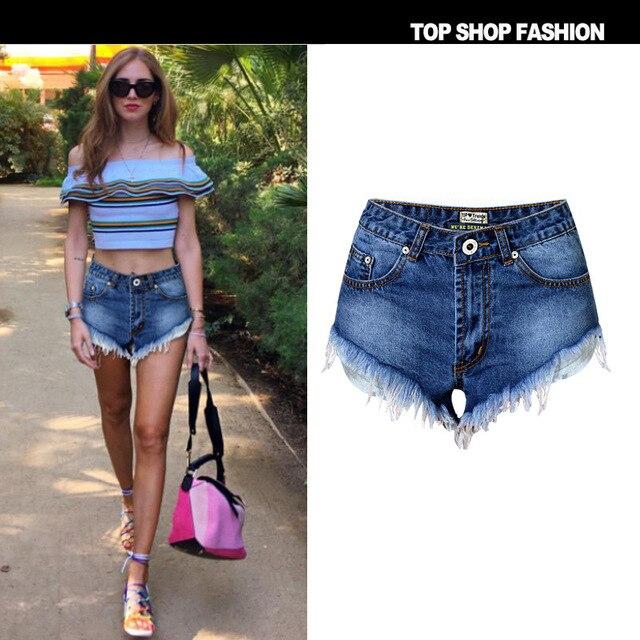 Classic Style High Waist Denim Shorts Summer Girls Casual Burr ...