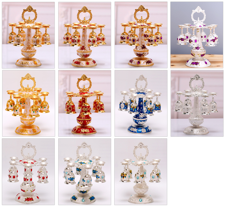 European Muslim Metal Hanging Sherbet Rack Crystal Sherbet Cup Holder Fashion Exquisit Castle pattern  cup table decoration