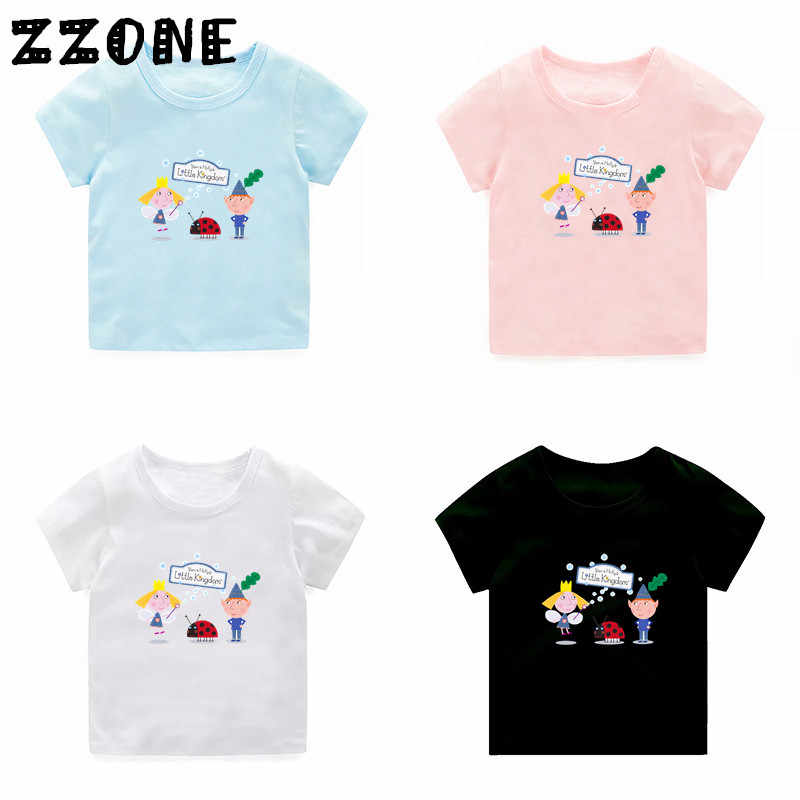 Children Cartoon Ben And Holly Kingdom Print Funny T-shirt Kids Summer Soft Clothes Boys Girls Tops Baby T shirt,5038E