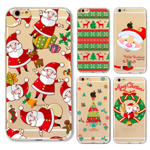 New Christmas Santa Claus Girl Case for iphone 6 6s Plus 6Plus 5 5s SE transparent soft silicone Protector Cover fundas capa 2