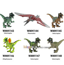 Legoings Dinosaurs Jurassic World Animals Shark Panther Cow Model Figures Building Blocks Baby Dolls Toys for Children Gift(China)