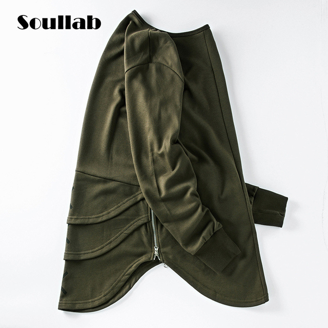 Высокое качество тонкая версия капюшоном толстовка мужская топы crewneck с длинным рукавом молнии оливковое черный одежда swag уличная одежда