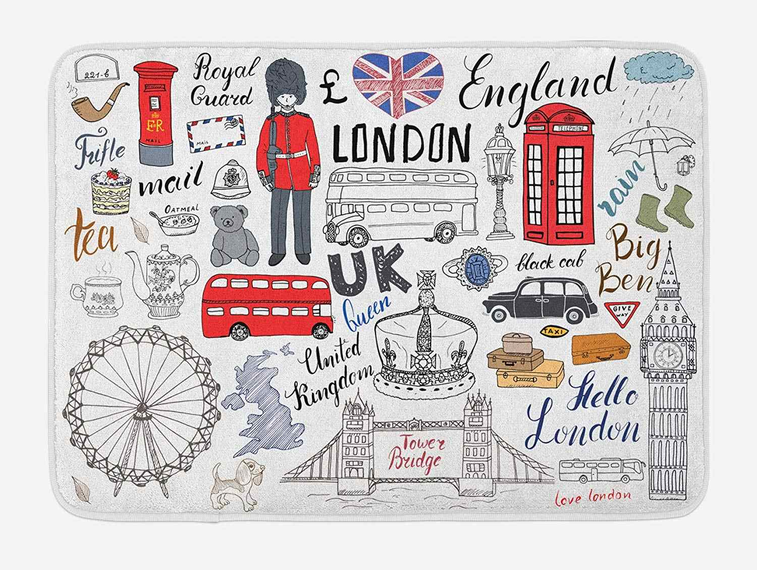 Doodle Bath Mat I Love London Double Decker Bus Telephone Booth Cab Crown of United Kingdom Big Ben Plush Bathroom Mat