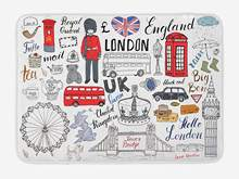 Doodle Bath Mat I Love London Double Decker Bus Telephone Booth Cab Crown of United Kingdom Big Ben Plush Bathroom Mat(China)