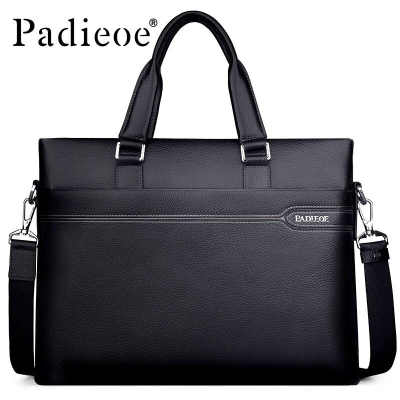 Padieoe Men s Genuine Leather Briefcase Famous Brand Business Cowhide Leather Men Messenger Bag Casual Handbags