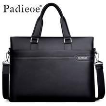 Padieoe Men's Genuine Leather Briefcase Famous Brand Business Cowhide Leather Men Messenger Bag Casual Handbags Shoulder Bags