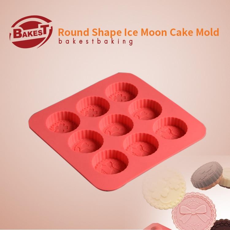 BAKEST Silicone Snow-Skin 9ks otvorů Round Moon Cake Mold DIY Tools dezert maker