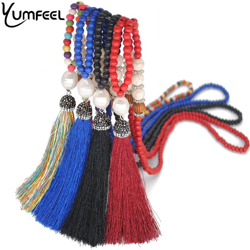 Yumfeel Brand New Jewelry Necklace 10 Color Choice Synthetic Stone Pearl Crystal Paved Tassel Pendant Necklace Long Gifts Women
