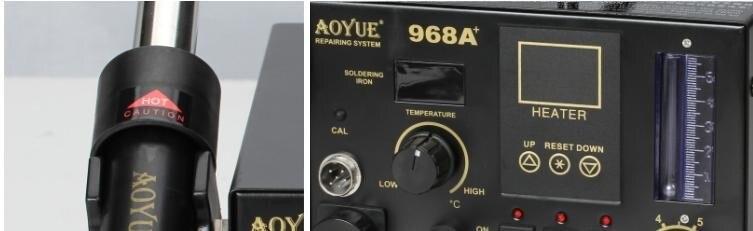 AOYUE 968A+ пайка горячим воздухом станция 3 в 1 ремонтная станция система SMT горячий воздух для поверхностного монтажа BGA паяльная станция для