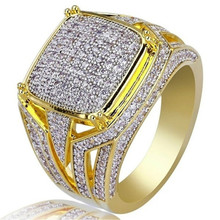 hip hop Rhinestone Iced Out Bling Square Ring Gold Color Rings For Men Jewelry Hot