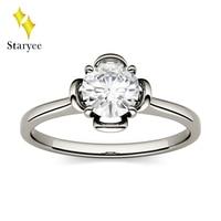 Platinum Pt950 Round Brilliant Cut 0.33ct 4.5mm Moissanite 4 Prong Ring Solarite Lab Diamond Engagement Wedding Ring For Women