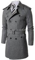 Индивидуальный заказ серый черный двубортный Тренч Для мужчин, дизайнерские зимние пальто Для мужчин длинное пальто, кашемир Шерстяное пал