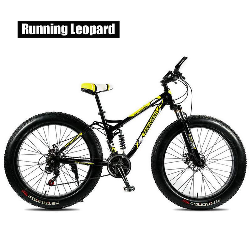 Running Leopard Mountain Bike 24 Speed Bicycle Fatbike Snow Bike 26 X 4.0  Double Disc Brake Bike Full Shockproof Bicycle