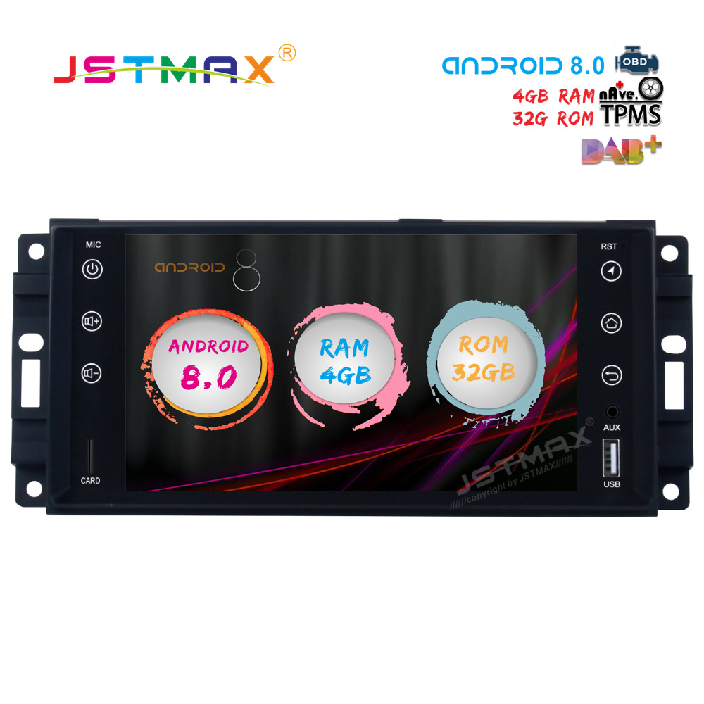 JSTMAX 7 Android 8 0 Car font b GPS b font Radio Player for Jeep Chrysler