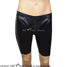 Black Sexy Latex Boxer Short With Zippers At Two Sides Rubber Underpants Underwear Pants Plus Size DK-0120